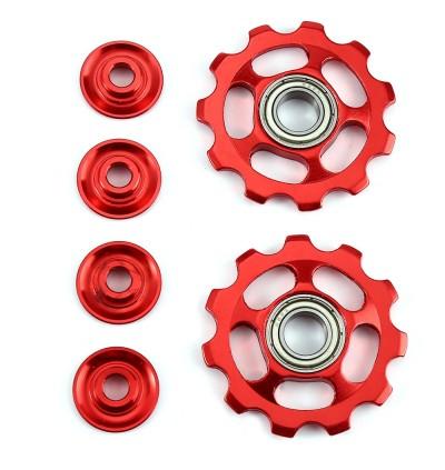 2 x Bike 11T Aluminum Sealed Bearing Rear Derailleur Pulleys Jockey Wheel