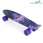 22 inch Stars Pattern Four-wheel Street Long Plastic Fish Skateboard