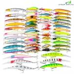 Proberos DWMI011 59-piece Set ABS Plastic Classic Minnow Fishing Lures Hard Bait