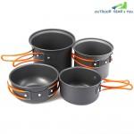 Outlife 4pcs Foldable Outdoor Camping Hiking Cookware Backpacking Picnic Bowl Pot Pan Set