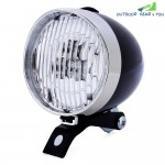 Retro Bicycle 3 LEDs Front Light Headlight Vintage Flashlight Lamp (Black)