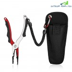 No. FG - 1038 Aluminum Alloy Fishing Pliers Split Ring Cutters with Sheath and Retractable Tether