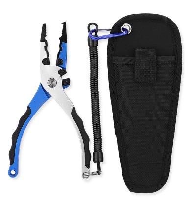 FG - 1039 Double Blade Anti-skid Open Loop Fishing Plier (BLUE)
