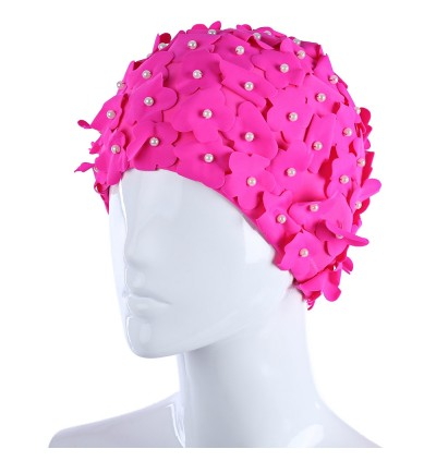 Fashion Design Lady Long Hair Three-dimensional Petal Swimming Cap(PINK)
