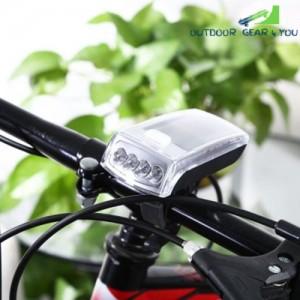 4-LED Solar Bike Head Light Front Torch Lamp Outdoor Equipment