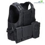 Amphibious Tactical Military Molle Waistcoat Combat Assault Plate Carrier Vest (BLACK)