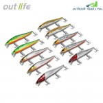 Outlife DHM002 10PCS Fishing Lures Hard ABS Minnow Baits with Hooks Box
