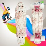 100kg Load Retro Skateboard Hibiscus Pattern Mini Board for Outdoor Sport