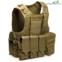 Amphibious Tactical Military Molle Waistcoat Combat Assault Plate Carrier Vest (KHAKI)