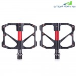SYUN-LP Paired Fashion Aluminum Alloy Bike Pedal for Mountain Road Bicycle (RED WITH BLACK)