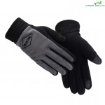 PolarFire Mens Outdoor Warm Cold-Proof Wind-Proof Touch Screen Micro Fleece Full-Finger Winter Sports Gloves(BLACK)
