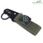 Military Olecranon Shape Key Webbing Hook Buckle Hanging Belt Carabiner With Compass (ARMY GREEN)