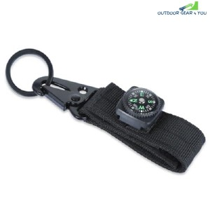 Military Olecranon Shape Key Webbing Hook Buckle Hanging Belt Carabiner With Compass (BLACK)
