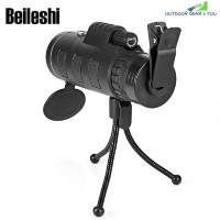 BEILESHI 40X60 MONOCULAR HANDHELD TELESCOPE WITH PHONE CLIP AND TRIPOD (BLACK)