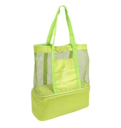 Picnic Shoulder Heat Preservation Bag Mesh Transparent Pouch (GREEN)