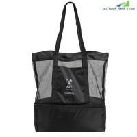 Picnic Shoulder Heat Preservation Bag Mesh Transparent Pouch (BLACK)