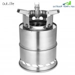 Outlife Stainless Steel Detachable Outdoor Firewood Stove with Pouch