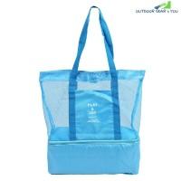 Picnic Shoulder Heat Preservation Bag Mesh Transparent Pouch (BLUE)