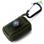 Outdoor Paracord Grenade Survival Fishing Kit Key Chain with 8 Tools Fire Starter Eye Knife with Compass