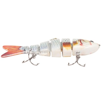 A FISH LURE Artificial Hard Fishing Lure 6 Segments Bait with Hooks (MULTI-C)