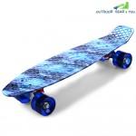 CL-94 22 inch Blue Starry Sky Pattern Retro Skateboard Longboard Mini Cruiser