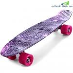 CL - 95 22 inch Purple Starry Sky Pattern Retro Skateboard Longboard Mini Cruiser