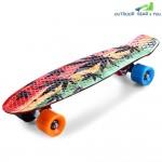 CL-24 22 inch Graffiti Maple Leaf Retro Skateboard Longboard Mini Cruiser