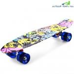 CL - 85 22 inch Graffiti Hip-hop Skull Retro Skateboard Longboard Mini Cruiser CL - 85