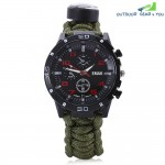 EMAK Outdoor Survival Watch Bracelet with Compass Flint Fire Starter Paracord Thermometer Whistle