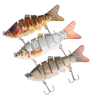 A FISH LURE Artificial Hard Fishing Lure 6 Segments Bait with Hooks (MULTI-A)