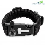 Outdoor Multifunctional Emergency Survival Parachute Bracelet with Compass Whistle Blade