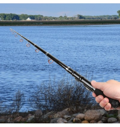 2.1m Mini Portable Retractable Fishing Rod Thrown Pole (BLACK)