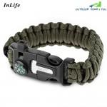 Inlife Buckle Mini Knife Fire Starter Bracelet Scraper Survival Gear(Army Green)