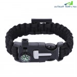 Outdoor Adventure Compass Whistle Emergency Survival Multifunctional Paracord Bracelet
