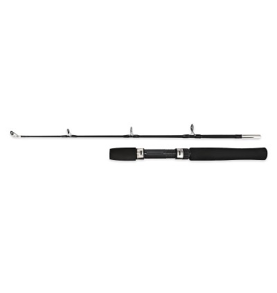 LEO 27561 80cm 2-piece Ice and Boat Fishing Rod with Solid Fiberglass  (BLACK)