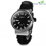 Outdoor 5 in 1 Travel Watch with Fire Starter Paracord Compass Whistle Rescue Bracelet(Black)