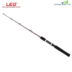 LEO 27561 80cm 2-piece Ice and Boat Fishing Rod with Solid Fiberglass  (RED)