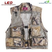 LEO 27913 - FC Outdoor Fishing Hunting Mesh Vest with Multiple Pockets (KHAKI)