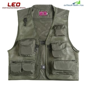 LEO 27913 - GR Outdoor Fishing Hunting Mesh Vest with Multiple Pockets (ARMY GREEN)
