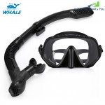 WHALE MK1000+SK900 Professional Diving Snorkeling Silicone Mask Snorkel Glasses Set