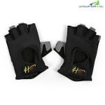 Half Finger Gloves Anti-skid for Sports Gym Riding Climbing (BLACK)