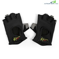 Half Finger Gloves Anti-skid for Sports Gym Riding Climbing (BLACK)