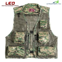 LEO 27913 - DC Outdoor Fishing Hunting Mesh Vest with Multiple Pockets (WOODLAND CAMOUFLAGE)