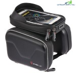 Wheelup B3 - 3 Bicycle Front Tube Frame Bag TPU Touch Screen for 6.2 inch Phone (BLACK)