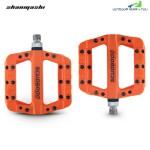 Shanmashi 1712C Nylon Carbon Fiber Mountain Bike Pedals (TANGERINE)