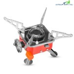 Portable Card Type Campaign Butane Gas Stove Burner (RED)