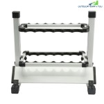 HONOREAL 12-ROD PORTABLE ALUMINUM FISHING ROD DISPLAY RACK (SILVER)