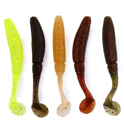 12Pcs Trulinoya Soft Fish Lure Colorful Artificial Baits Fishing Tackle with Fishiness