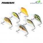 Proberos 6pcs 6 Color Fishing Crankbait Hook Lure Bait