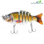 PROBEROS 9CM 6 Part Fresh Water Weever Shape Crankbait Hook Fishing Bait for Outdoor Activity